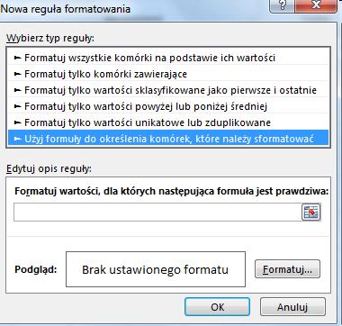 Ms Excel Formatowanie Warunkowe Format Koloru Całego
