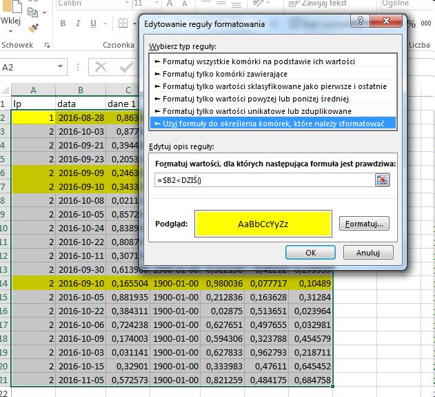 Ms Excel Formatowanie Warunkowe Podświetlanie Daty W