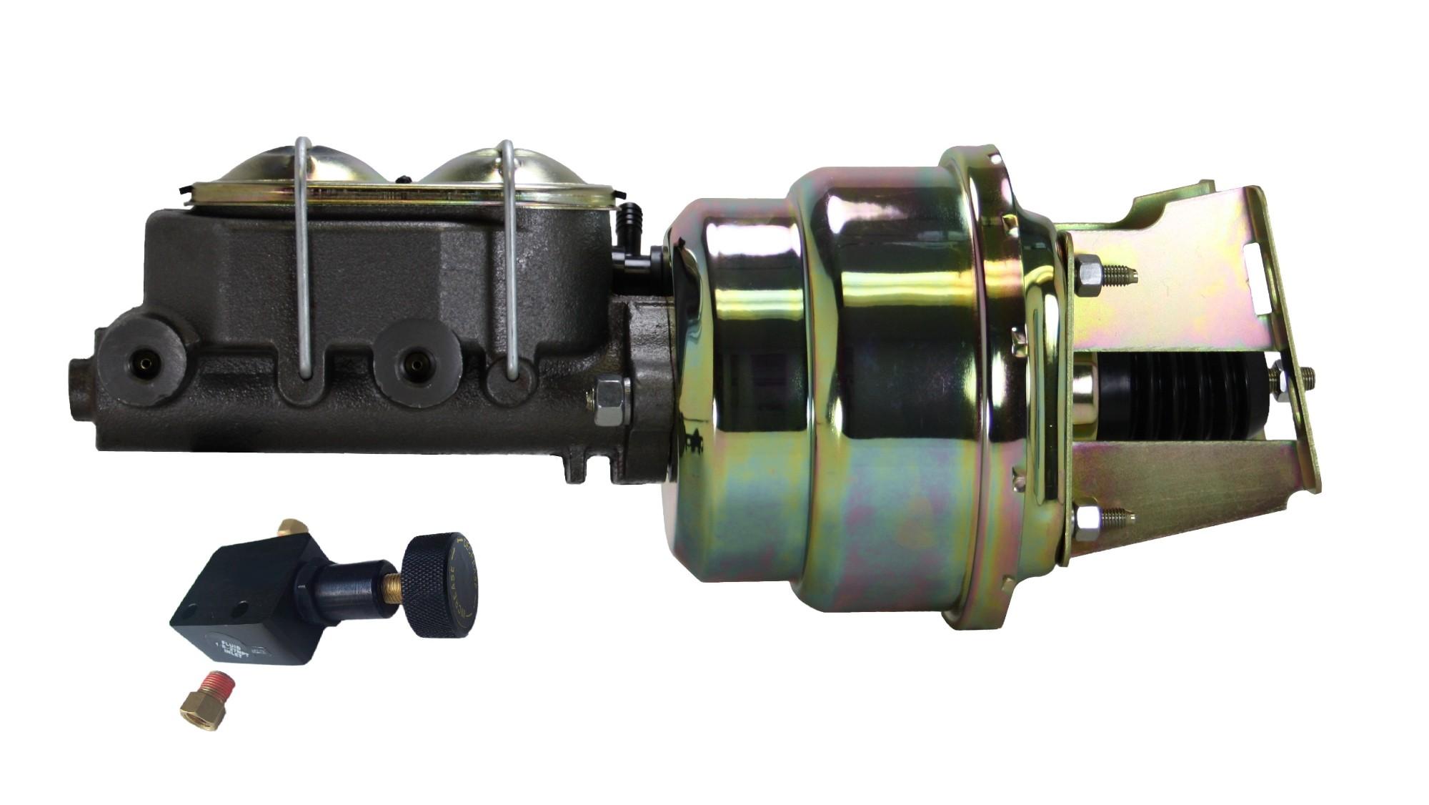 LEED Brakes 3K105 7 in Dual Power Booster ,1-1/8in Bore, Adj Prop Valve (Zinc)