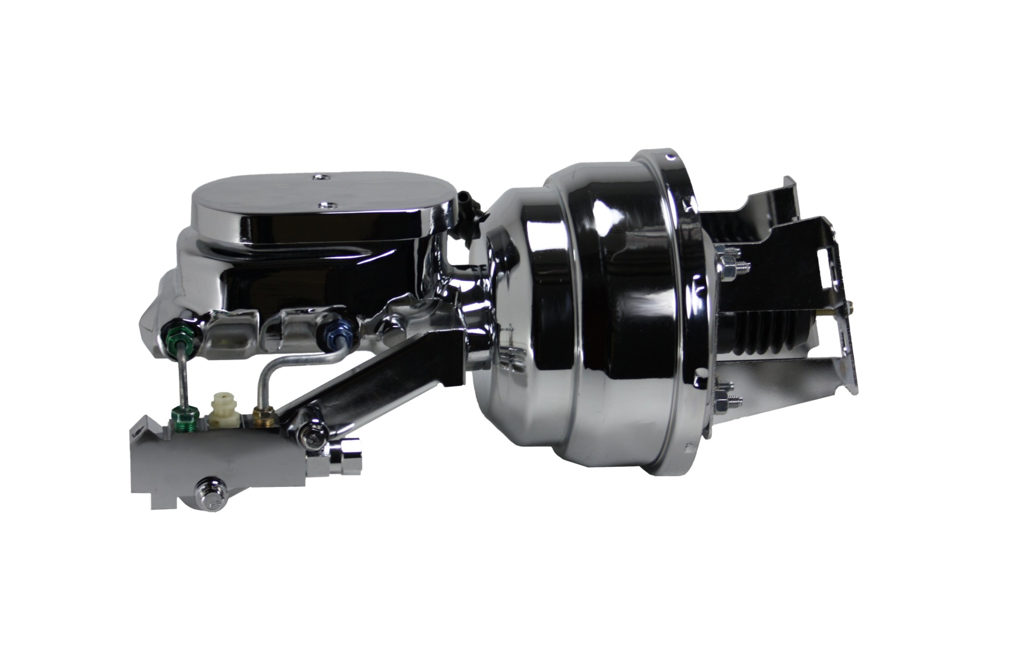 LEED Brakes 4V6B2 8 in Dual Power Booster ,1-1/8in Bore, side valve disc/drum (Chrome)