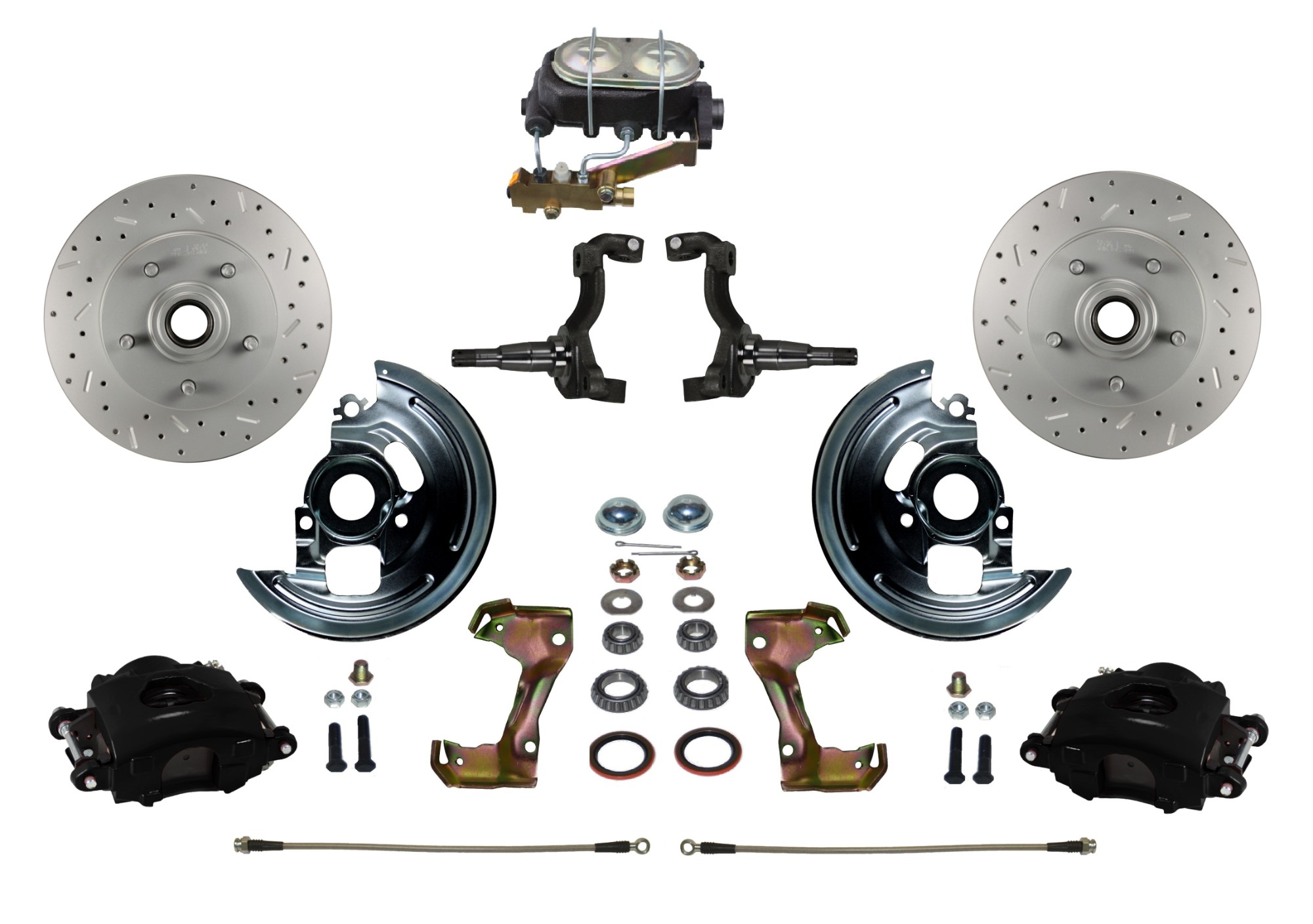 LEED Brakes BFC1002-3A1X Front Disc Brake Kit - Manual Brakes - Black - MaxGrip - Disc/Drum
