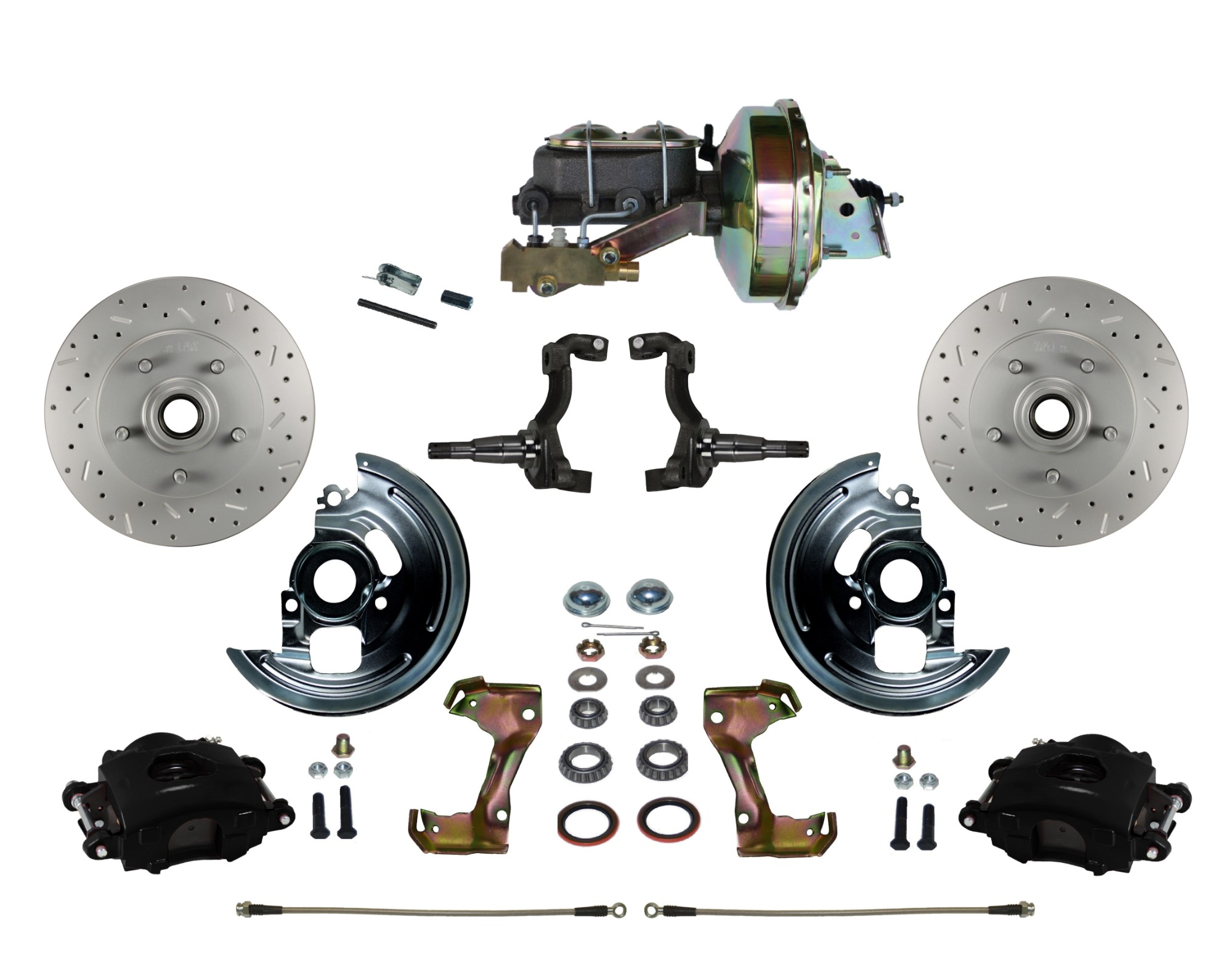 "LEED Brakes BFC1002-E1A3X Front Disc Brake Kit - Power 9"" Zinc - Black - MaxGrip - Disc Disc"