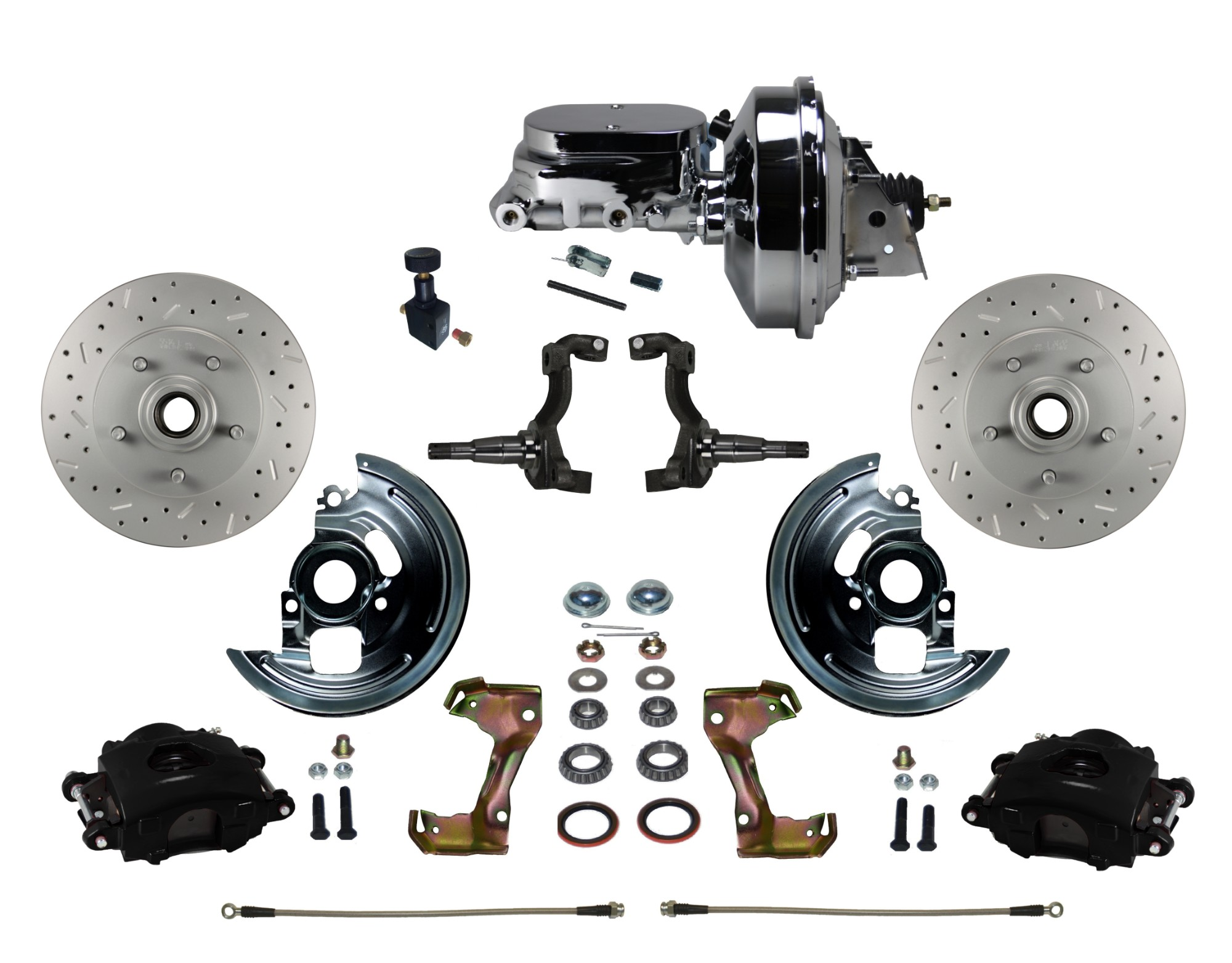 "LEED Brakes BFC1002-F605X Front Disc Brake Kit - Power 9"" Chrome - Black - MaxGrip - Adj. Valve"