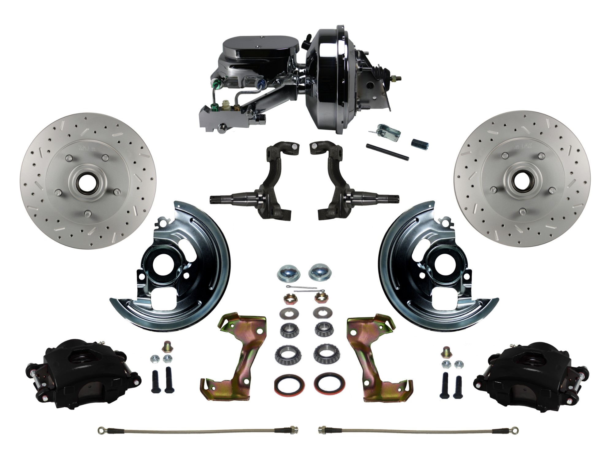 "LEED Brakes BFC1002-F6B4X Front Disc Brake Kit - Power 9"" Chrome - Black - MaxGrip - Disc Disc"