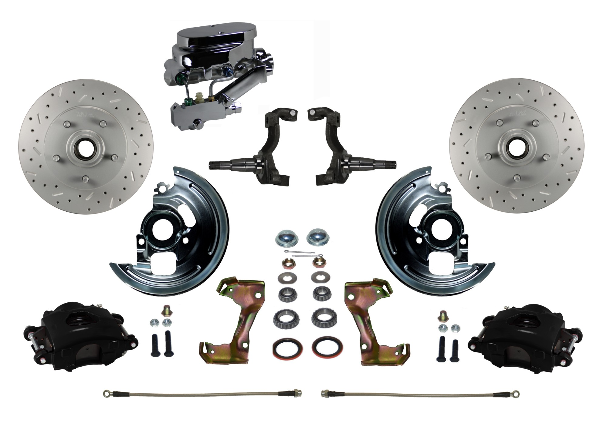 LEED Brakes BFC1002-FA1X Front Disc Brake Kit - Manual - Chrome - Black - MaxGrip Disc Drum