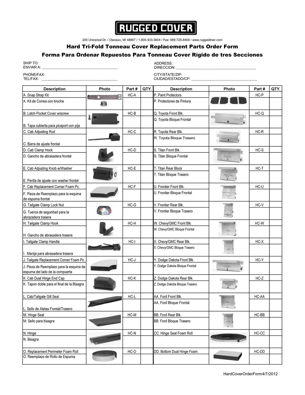 Rugged Liner Hc Tun6504 Premium Hard Folding Cover