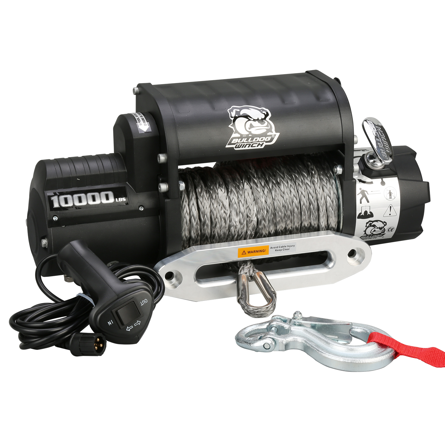 Bulldog Winch 10017 10000lb Winch w/5.8hp Series Wound, Integrated, 100ft Synthetic Rope, Alu Frl