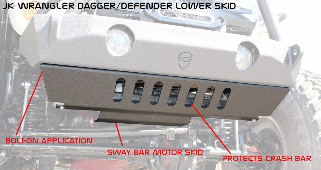JCR Offroad JKSD-VCM-PC - JK Front Lower Bumper Skid (Vanguard, Crusader, Mauler) 07-18 Powder Coat
