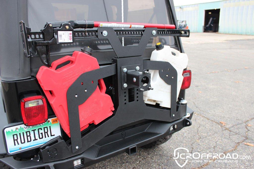 JCR Offroad SWBARP2-PC - Adventure Tire Carrier RotoPax Mount 76-06 Jeep Wrangler TJ, LJ, YJ, CJ7 Powdercoat