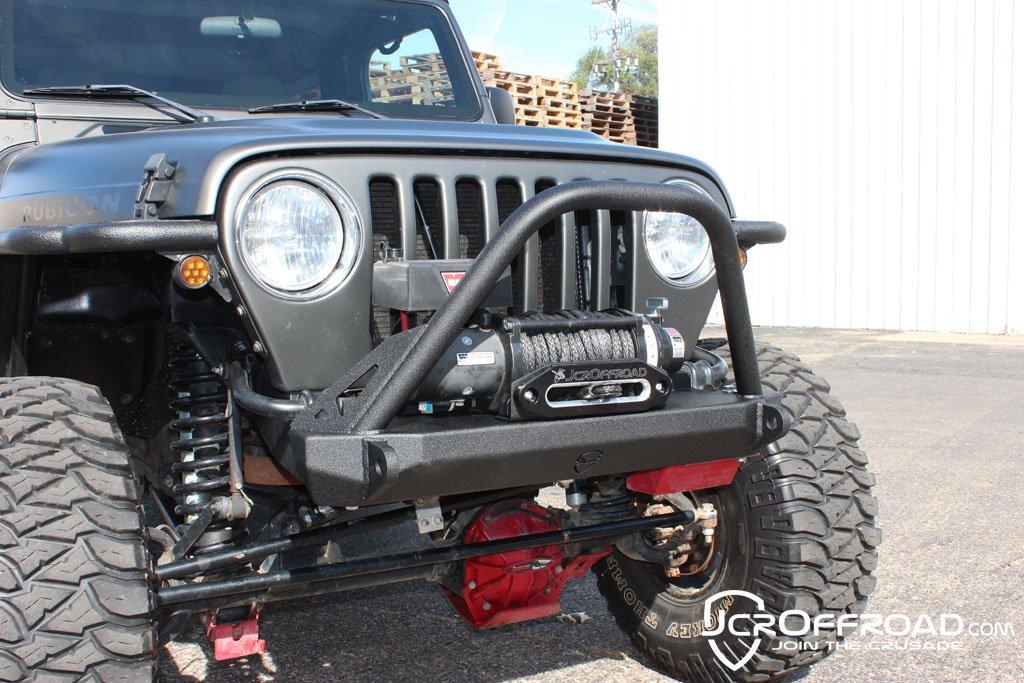 JCR Offroad SWBFD-TJ-T-BARE - TJ Front Winch Bumper Dagger Stubby Bare W/Tube Work