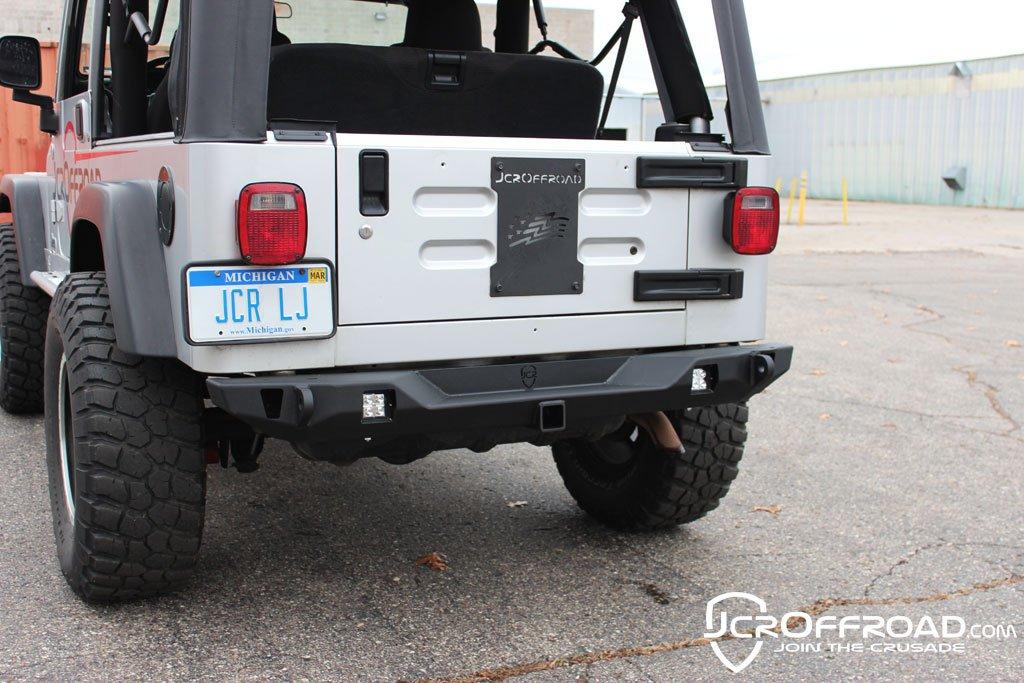JCR Offroad SWBRC2-PC - Wrangler Rear Bumper Mid Width Crusader TJ / LJ / YJ / CJ7 76-06 Powder Coat