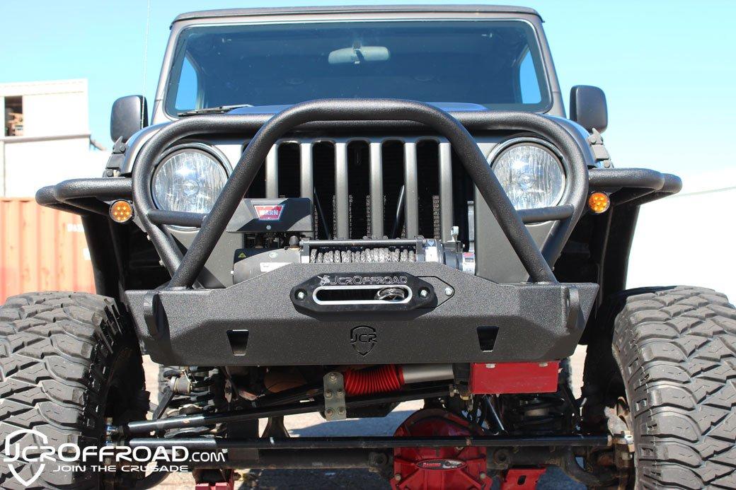 JCR Offroad TJFM-TX-PC - TJ Front Bumper 97-06 Mauler Stubby Deluxe Powder Coat