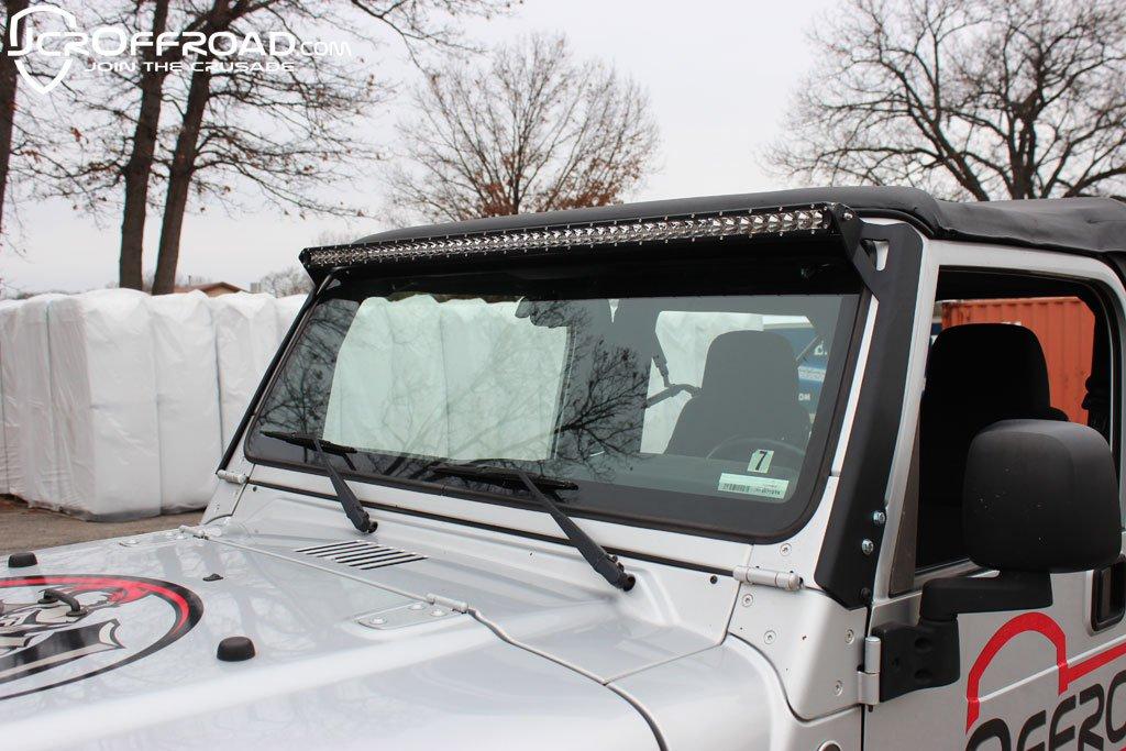JCR Offroad TJLM50-PC - TJ/LJ Low Profile 50 Inch LED Light Bar Upper Windshield Mounting Brackets 97-06 Powder Coat