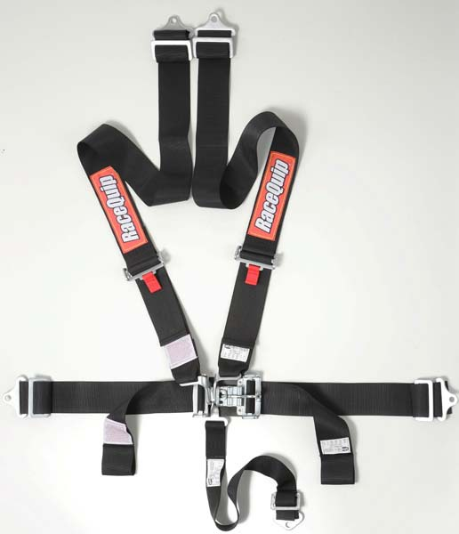 Racequip 711001 SFI 16.1 Latch & Link 5-Point Racing Harness Set (Black)