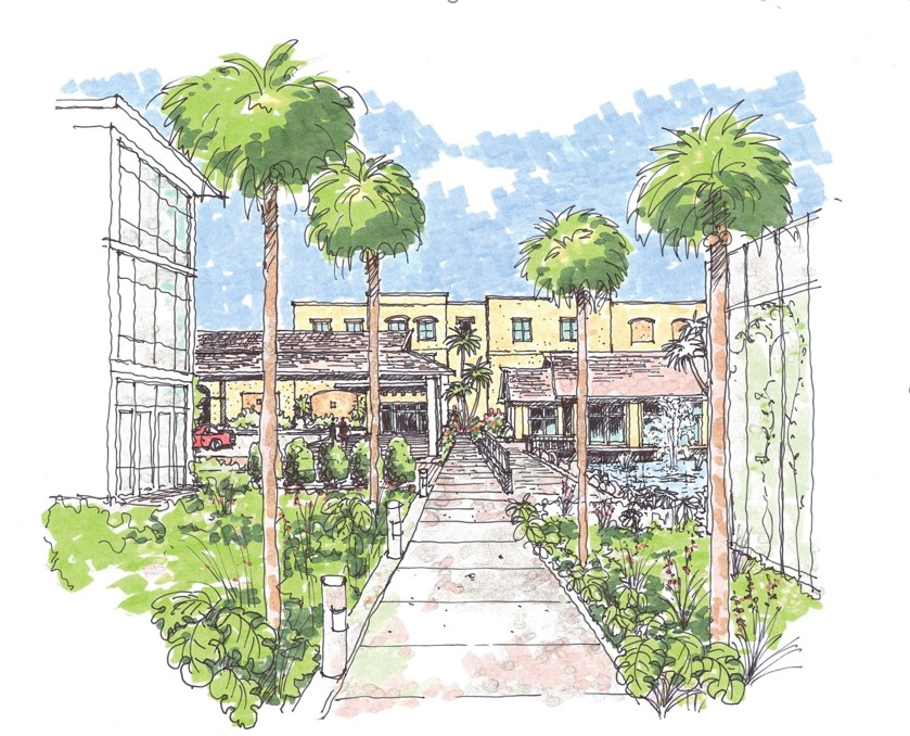 A drawing of the front entrance of Abbey Delray retirement community