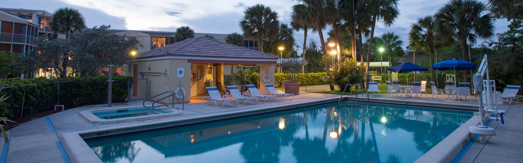 Outdoor pool at Abbey Delray South a senior living community in Delray Beach Florida