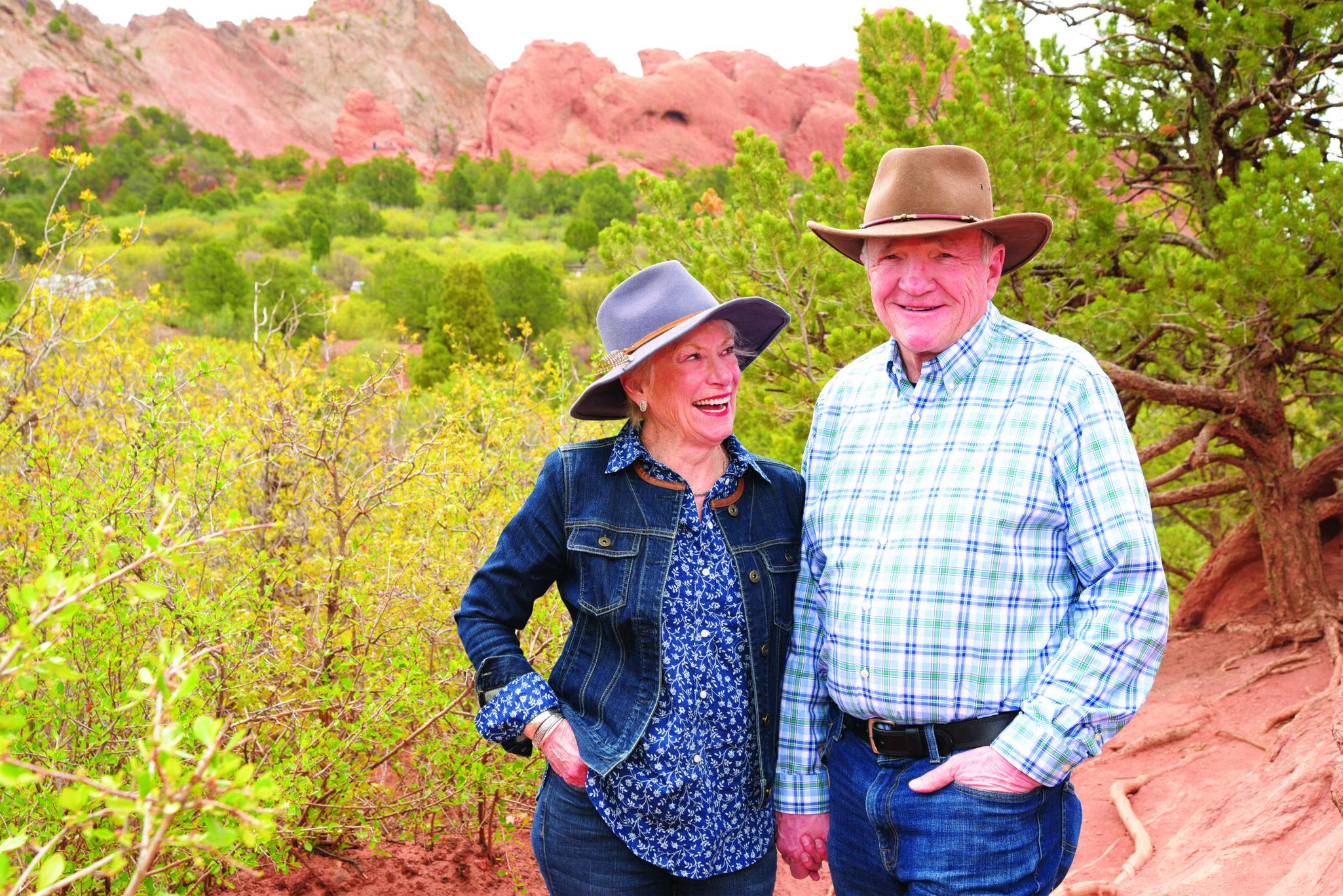 Senior couple standing outside