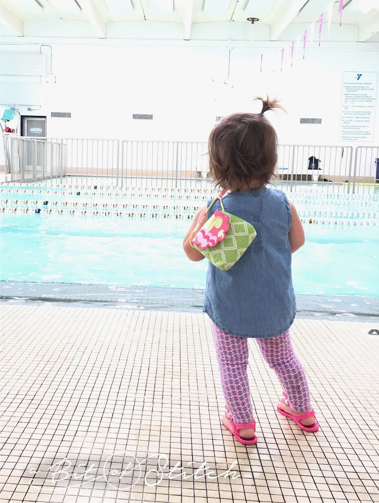 Baby Kate used her Bonbon Purse to carry goldfish crackers to big brother's swimming class! link: /shop/bonbon-purses/