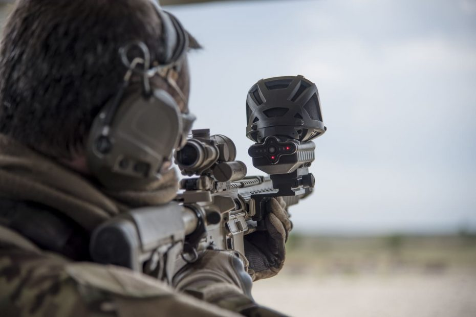 Soldier aiming with a gunshot detector