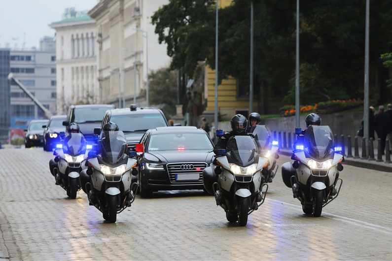 Police escort for the safety of government officials during special events