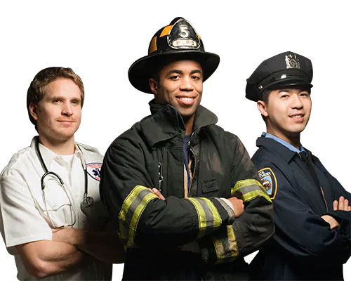medical professional, firefighter, police officer standing side by side