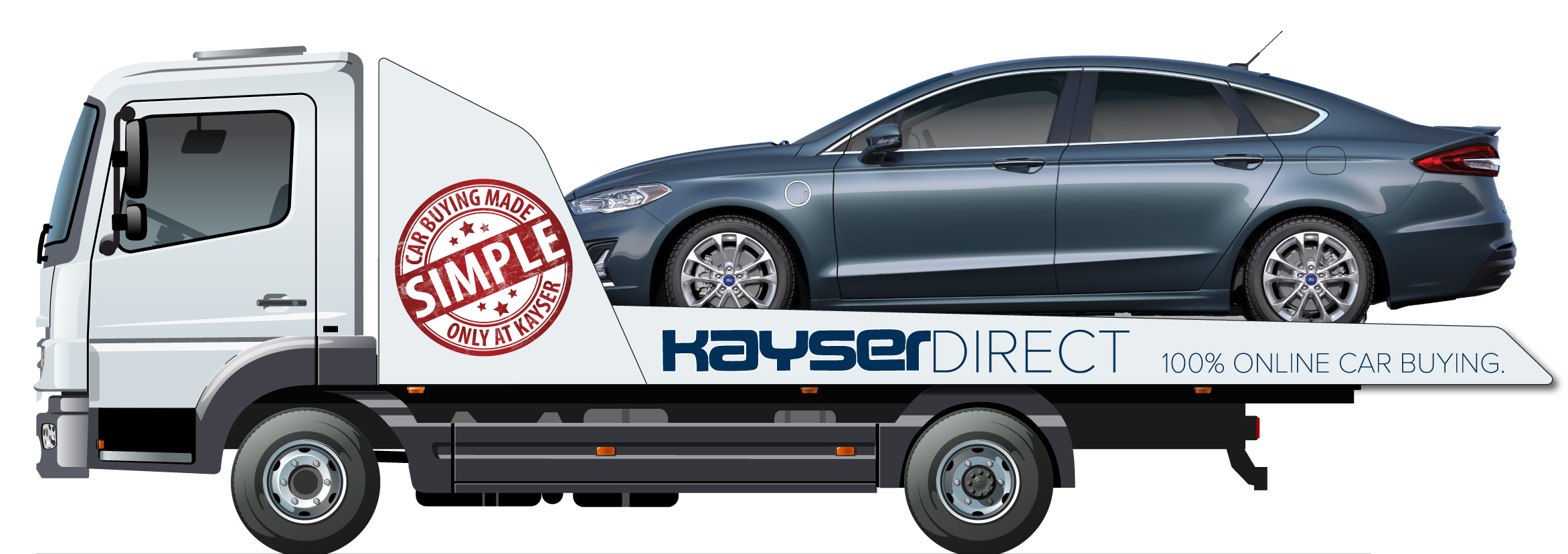 Kayser Direct flatbed delivery truck with car on the back
