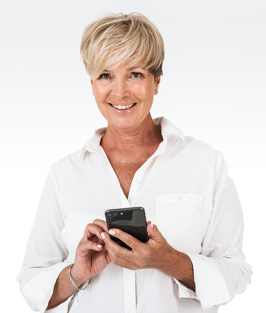 Mature Woman using a smart phone to buy a car