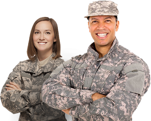 Military and and Woman Soldiers standing next to each other