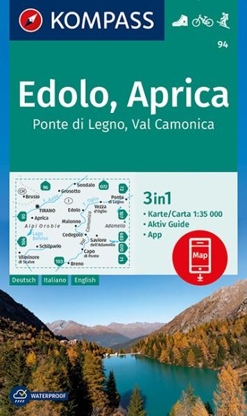 KOMPASS Wanderkarte Edolo, Aprica, Ponte di Legno