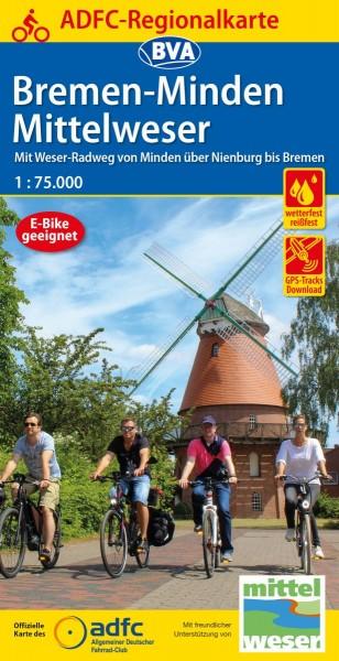 ADFC Regionalkarte Bremen-Minden/Mittelweser