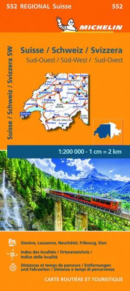 Michelin Regionalkarte Schweiz Süd-West