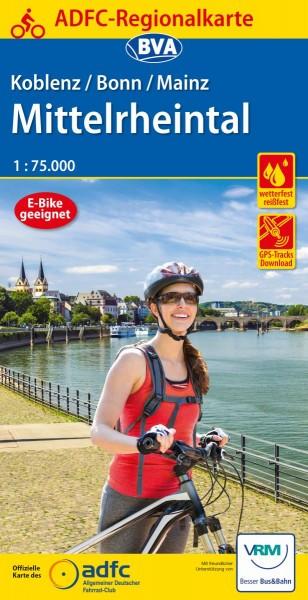 ADFC Regionalkarte Koblenz/Bonn/Mainz Mittelrhein.