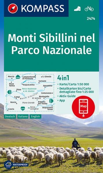 KOMPASS Wanderkarte Monti Sibillini nel Parco Naz.