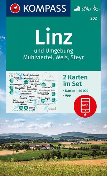 KOMPASS Wanderkarte Linz und Umgebung, Mühlviertel