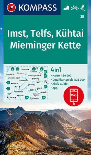 KOMPASS Wanderkarte Imst, Telfs, Kühtai