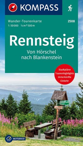 KOMPASS Wander-Tourenkarte Der Rennsteig