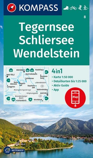 KOMPASS Wanderkarte Tegernsee, Schliersee