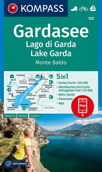 KOMPASS Wanderkarte Gardasee, Lago di Garda