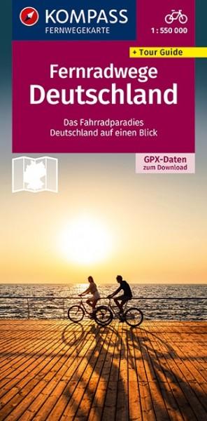 KOMPASS Fernwegekarte Fernradwege Deutschland