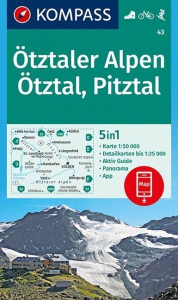 OMPASS Wanderkarte Ötztaler Alpen, Ötztal, Pitztal