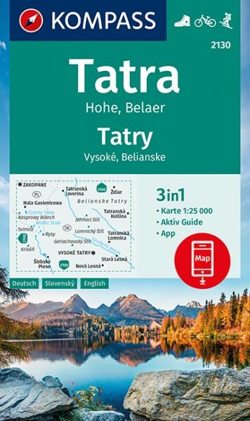 KOMPASS Wanderkarte Tatra Hohe, Belaer, Tatry