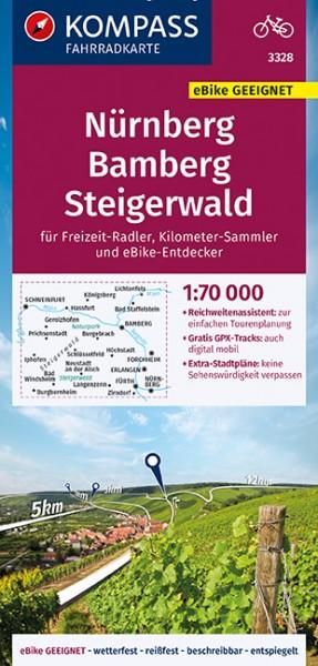 KOMPASS Fahrradkarte Nürnberg,Bamberg,Steigerwald