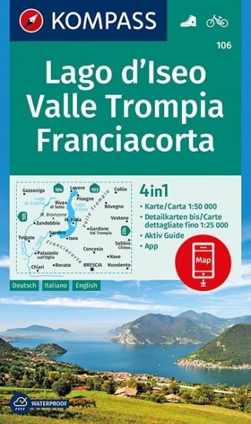 KOMPASS Wanderkarte Lago d'Iseo, Valle Trompia