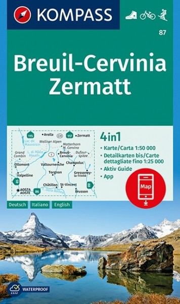 KOMPASS Wanderkarte Breuil-Cervinia, Zermatt