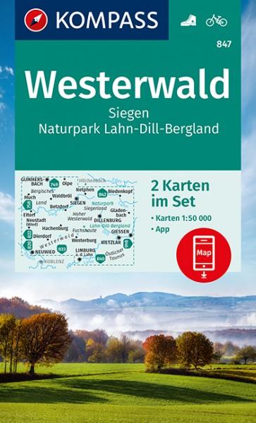 KOMPASS Wanderkarte Westerwald, Siegen