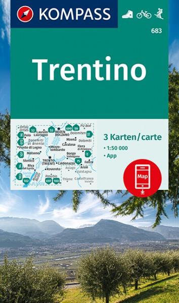 KOMPASS Wanderkarte Trentino, 3er Set