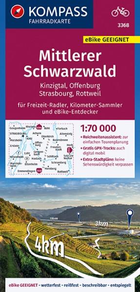KOMPASS Fahrradkarte Mittlerer Schwarzwald