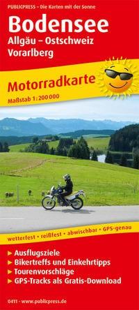 Motorradkarte Bodensee, Allgäu - Ostschweiz