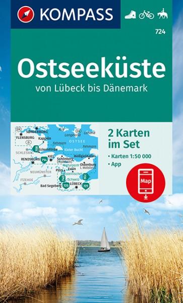 KOMPASS Wanderkarte Ostseeküste Lübeck - Dänemark
