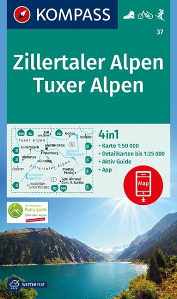 KOMPASS Wanderkarte Zillertaler Alpen, Tuxer Alpen